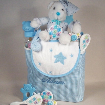 Embroidered Baby Blue Diaper Bag Set