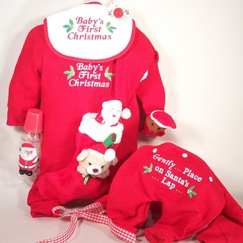 Embroidered First Christmas Outfit Set