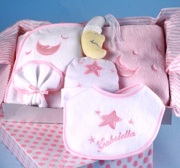Girl's Layette Set With Personalized Baby Bib