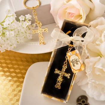 Gold Cross Key Chain Favor
