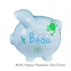 Hand Painted Personalized Blue Ceramic Piggy Bank