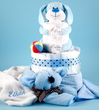 Hugging Puppy Diaper Cake ( Can be personalized)