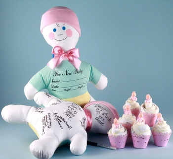 Keepsake Signature Doll And Cupcake Towels (Pink or Blue)