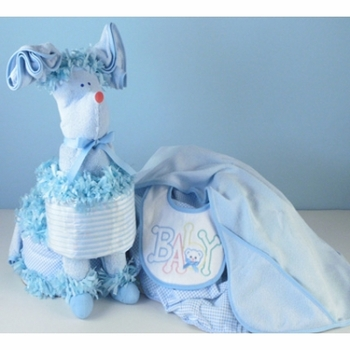 Large Blue Diaper Cake With Puppy Design