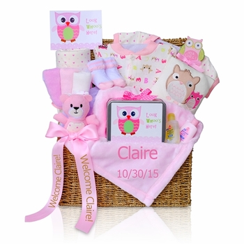 Look Whoo's Here! Baby Girl Gift Basket (Out of Stock)