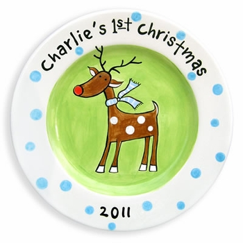Personalized 1st Christmas Reindeer Plate