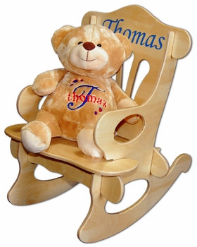 Personalized Baby Rocker And Teddy Bear Set