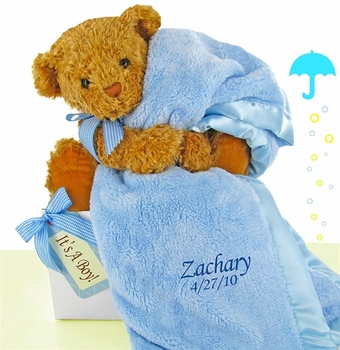 Personalized Blue Baby Blanket And Bear