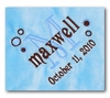 Personalized Blue Velour Blanket with Brown Satin Trim