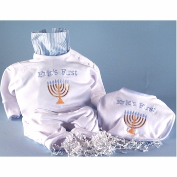 """Personalized """"First Hanukkah"""" Baby Boy Outfit Set"""
