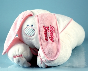 Personalized Pink Rabbit Blanket