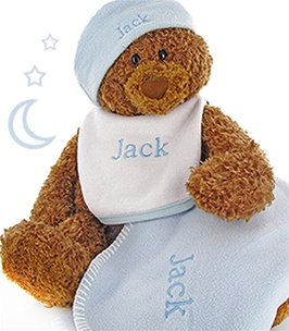 Personalized Teddy Bear Set With Blue Hat & Blanket
