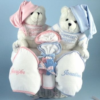 Personalized Twin Teddy Bears Ensemble