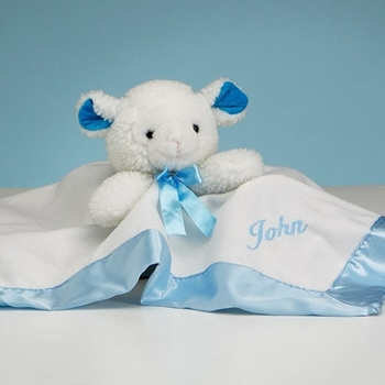 Personalized White & Blue Lamb Security Blanket