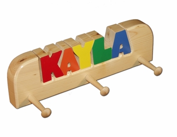 Personalized Wooden Children's Coat Rack