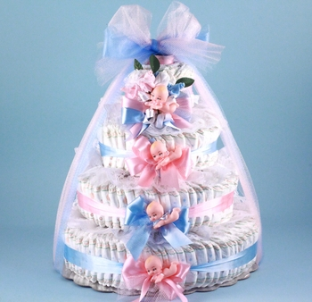 Pink And Blue Diaper Cake For Twins