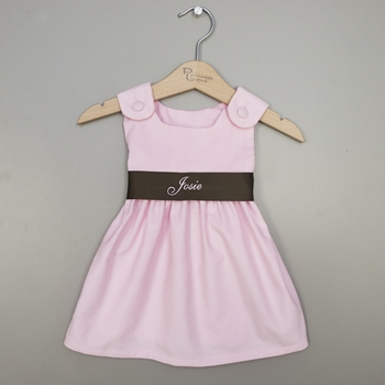 Pink And Brown Corduroy Baby Girl Dresses