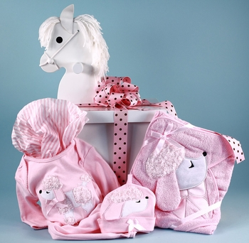 Pink Poodle Layette Ensemble In Rocking Horse Gift Box