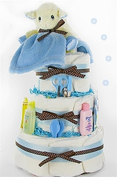 Plush Lamb 3 Tier Boy Diaper Cake