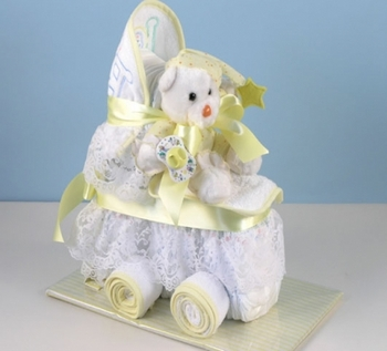 Unisex 2 Tier Baby Diaper Carriage Cake