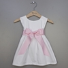 White Cotton Dress With Pink Sash (Can Be Personalized)