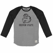 Oregon State Beavers Retro Brand Vintage Benny Long Sleeve Raglan Tee - Grey/Black
