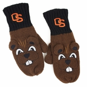 Oregon State Beavers ZooZatz Mascot Texting Gloves - Black/Brown
