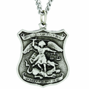 3/4 Inch St. Michael/Police Shield on 24 in. on Stainless Steel Chain