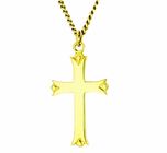 1-1/4 Inch Gold Plated Polished Budded Ends Cross On 18 Inch 14K Gold Chain