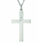 1-1/4 Inch Sterling Silver Engraved Center Cross On 20 Inch Stainless Steel Chain