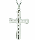 1-1/4 Inch Sterling Silver Inner Engraved Cross On 24 Inch Stainless Steel Chain