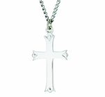 1-1/4 Inch Sterling Silver Polished Budded Ends Cross On 18 Inch Stainless Steel Chain