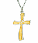 1-1/8 Inch 2 Tone Ribbon Cross On 24 Inch Stainless Steel Chain