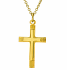 1 Inch Gold Plated Line Polished Inner Cross On 18 Inch 14K Gold Chain