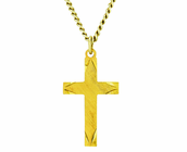 1 Inch Gold Plated Satin Engraved Ends Cross On 18 Inch 14K Gold Chain