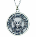 1 Inch Large Nickel Silver Navy Medal Christ Strengthens Me On Back On 24 Inch Stainless Steel Chain