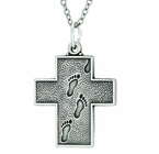 1 Inch Sterling Silver Footprints Cross On 24 Inch Stainless Steel Chain