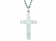 1 Inch Sterling Silver Satin Cross Engraved Ends On 18 Inch Stainless Steel Chain