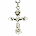1 Inch Sterling Silver Sword Ends Ox Crucifix On 18 Inch Satinless Steel Chain