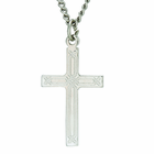 1 Inch Sterling Silver Weave Design Center Cross On 18 Inch Stainless Steel Chain