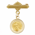 14k Gold Bar Pin with Guardian Angel