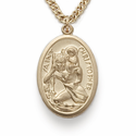 "14K Gold Filled Oval St. Christopher Medal on 20"" Chain"