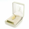 """14K Gold Over Sterling Silver Oval Miraculous Medal in a Decorative Border on 18"""" Chain"""