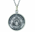 3/4 Inch Small Nickel Silver Army Medal Christ Strengthens Me On Back On 20 Inch Stainless Steel Chain