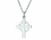 3/4 Inch Sterling Silver Small Celtic Cross On 18 Inch Stainless Steel Chain