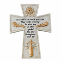 """6"""" Resin """"Blessings On Your Baptism"""" Wall Cross"""