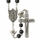 6mm Round Black Hematite Beads with Silver Plated Crucifix and Miraculous Center