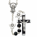 6mm Round Black Wood Beads with Silver Plated Doves, Crucifix and Madonna Center
