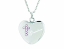 7/8 Inch Sterling Silver Heart / Grandma Pink CZ Crystal Cross On 18 Inch Stainless Steel Chain
