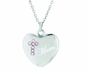7/8 Inch Sterling Silver Heart / Mom Pink CZ Crystal Cross On 18 Inch Stainless Steel Chain